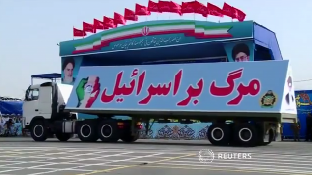 "Even Hitler didn't parade a big military truck that read ""Death to the Jews.""  Iran did.  Today. http://t.co/Cn3UTjXmVE"