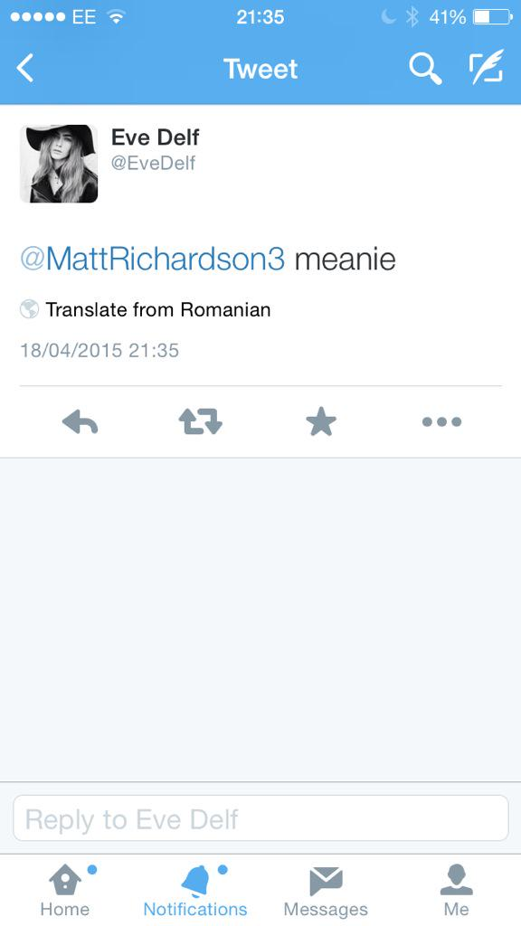 RT @MattRichardson3: @EveDelf sorry mate can you say that not in Romanian http://t.co/dpCHgy7w9R