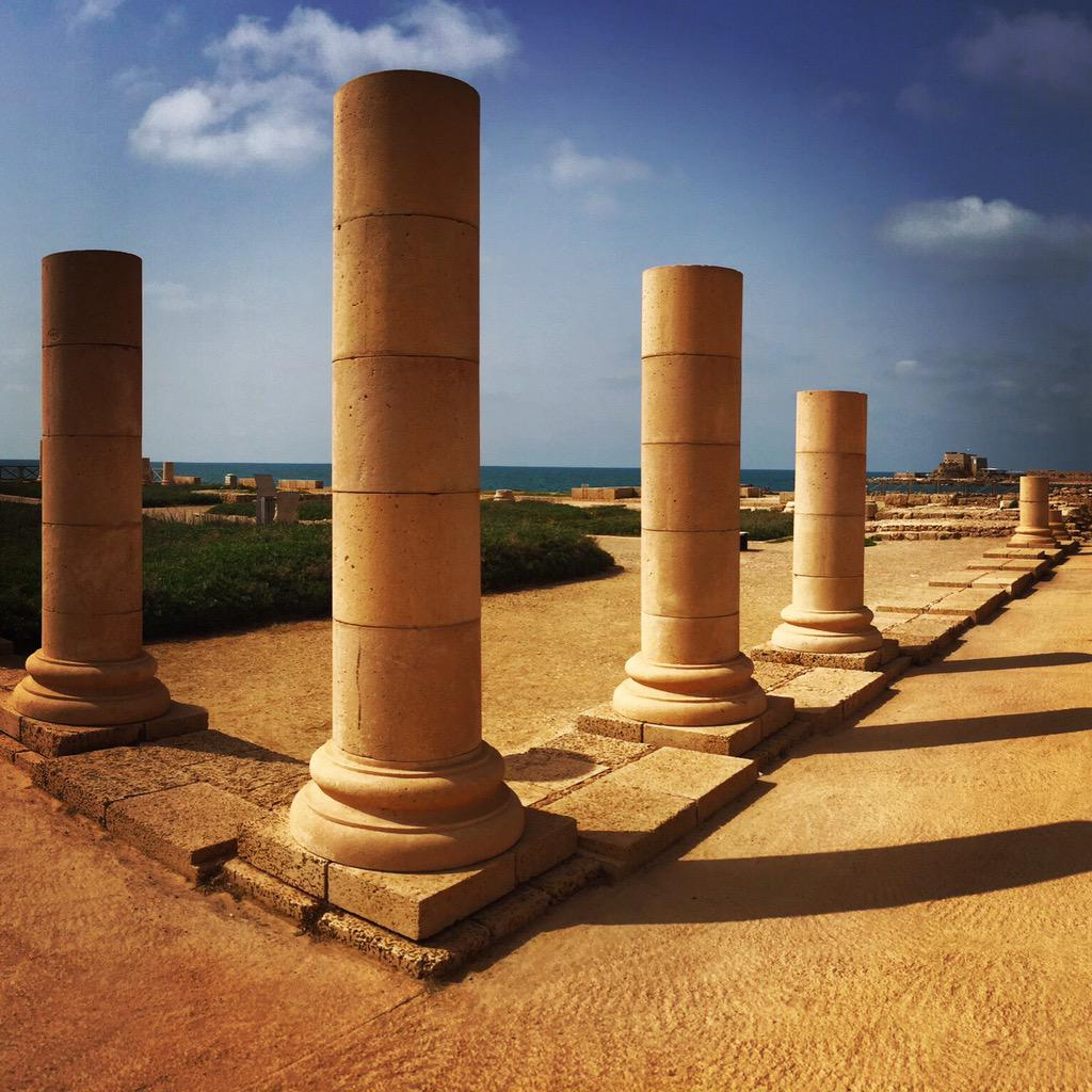 ancient roman ruins, seaside. in Israel. http://t.co/YDr8ps462r