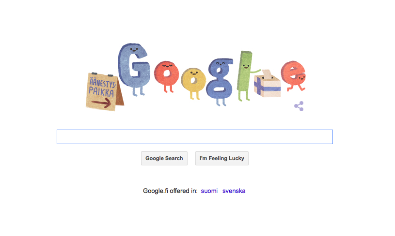 It's election day in #Finland! Today we vote for new parliament. Thanks for the doodle #Google :) #vaalit2015 http://t.co/2OTnMU0iKP