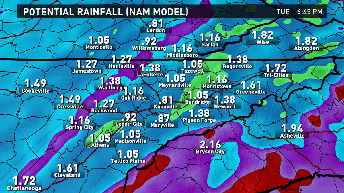 Wbir Weather On Twitter Rainfall Totals Through Tuesday Evening 1