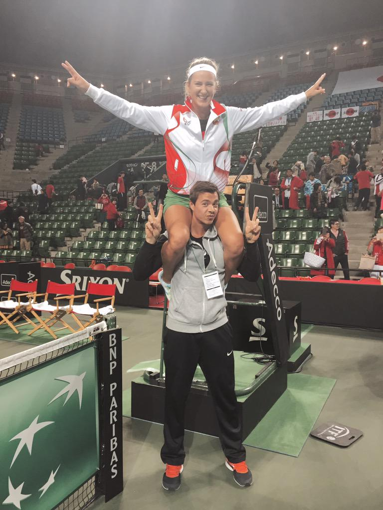 @vika7 and me celebrating the win. Lol! Well done #TeamBelarus thank you for letting me be part of this... #FedCup http://t.co/qnqg8HzqWd