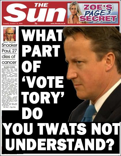 Here's the front page to tomorrow's Sun. Seems a little desperate to me, but I'm sure they know what they're doing. http://t.co/HtBkq8cVj2