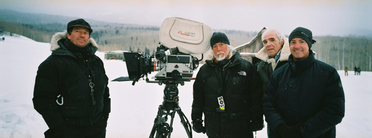 Last week of shooting in Ultra Panavision 70 on the set of The Hateful Eight w/ Gregor Tavenner & Bob Richardson ASC http://t.co/BDWNIXDmqi