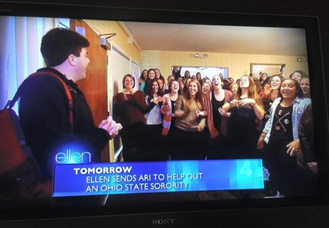 Excited to watch @AEPhi_OSU on @TheEllenShow tomorrow! http://t.co/MQNZQJwQ6V