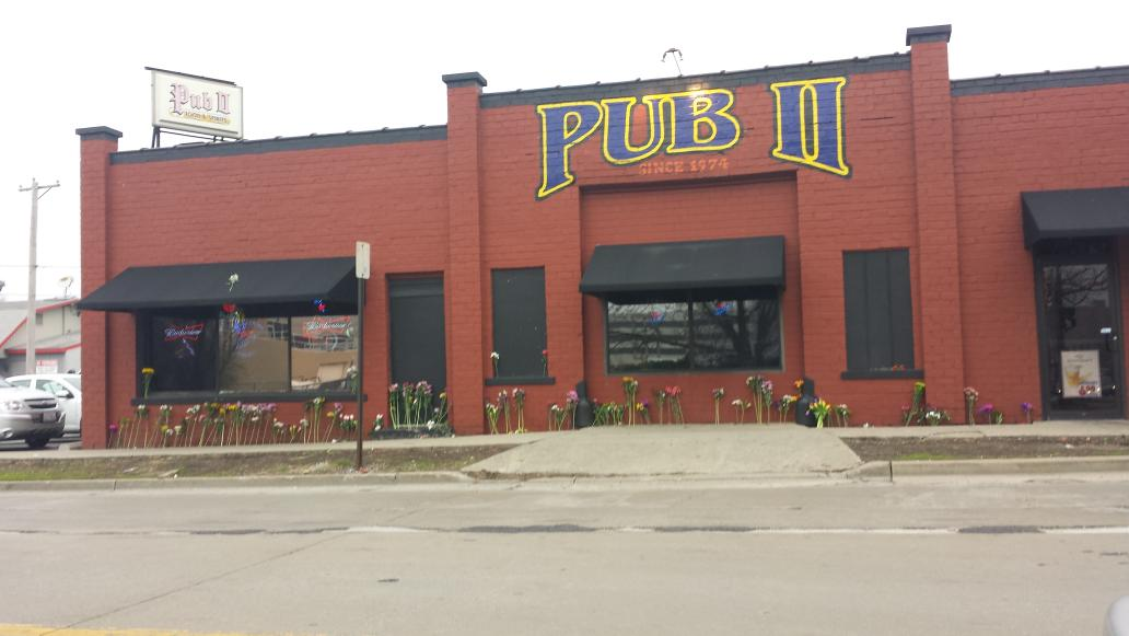 Flowers line the walls of the Pub in respect. The #BloNo community lost some great friends today http://t.co/u1224wCKi5