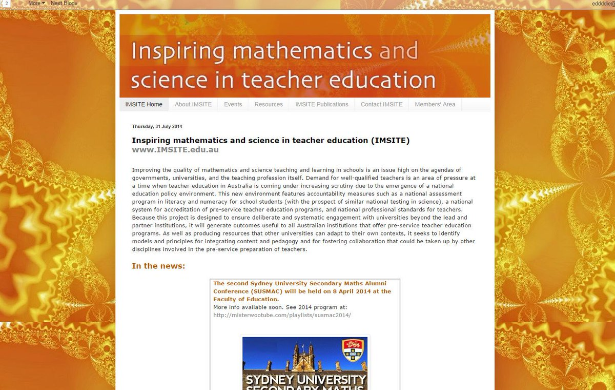 What's in the news for secondary maths? @JudyAnderson6 talking about Inspiring Maths + Sci in Teacher Ed #susmac15 http://t.co/2jYFzLiPLK