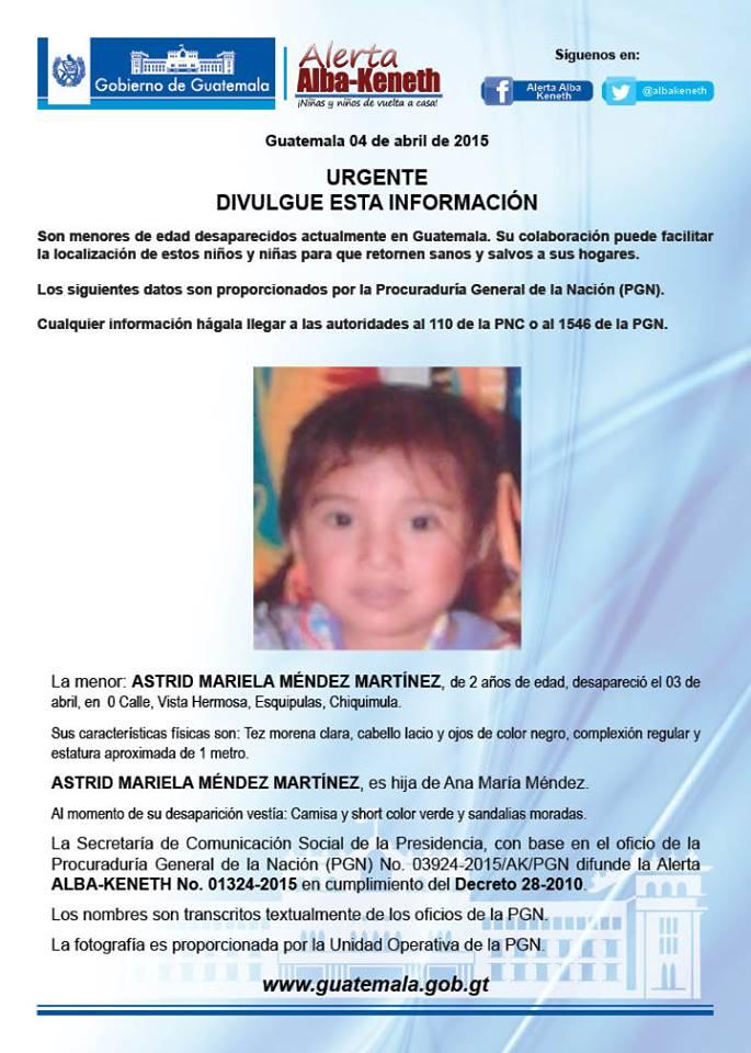 @MarlisOsorio Servicio Social: Nena de 2 años desaparecida  RT por favor @Noti7Guatemala @Ruiz1Maritza @luispellecer http://t.co/TfXuU7BMAj