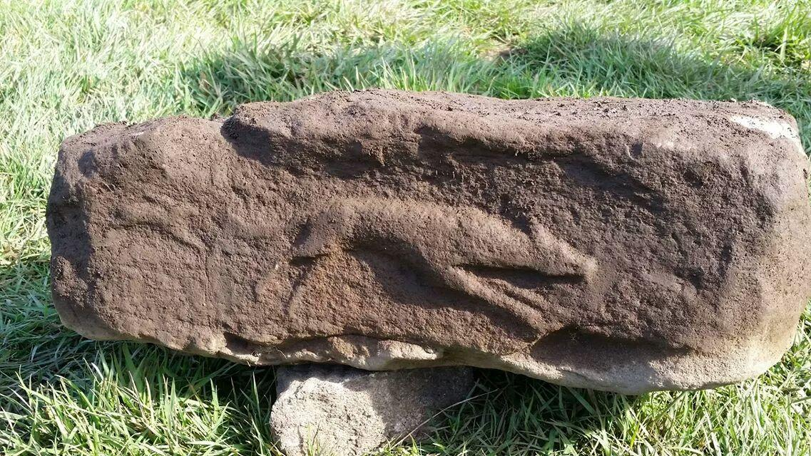 Fresh out of the ground this morning is this carved hare and hound. Great find. #vindolanda http://t.co/N3U9VD37jv