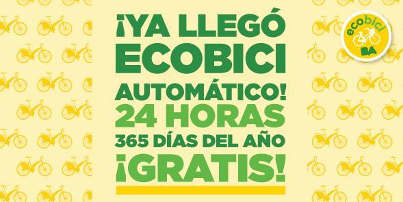 Con el nuevo sistema #BAecobici automático, vas a poder retirar y devolver tu bici las 24 h, los 365 días del año. http://t.co/H88wssuIIN