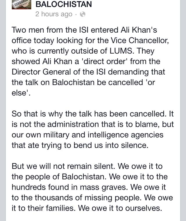 """Here's why the LUMS panel discussion #UnsilencingBalochistan got """"canceled"""" http://t.co/9Wui6EyhCr"""