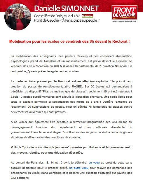 Paris - Manifestation devant le rectorat le 10 avril 2015 (8h) pour le CDEN. CCFnGbIWAAAqmyQ