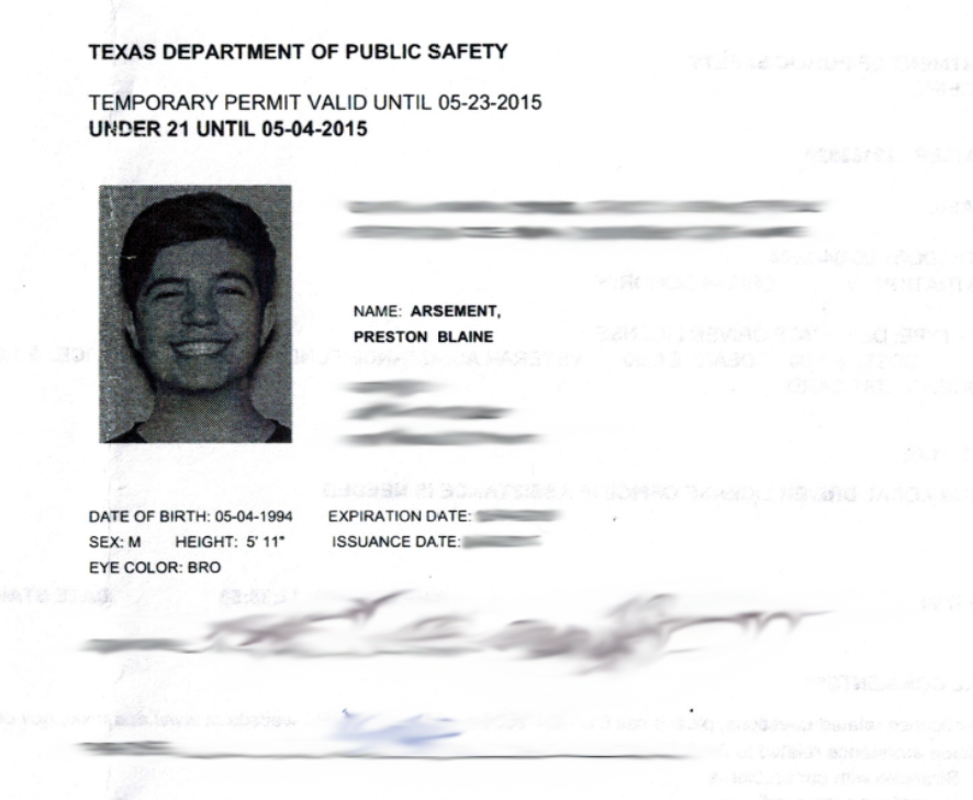 Preston on twitter wooo i am now officially a texan for Texas temporary drivers license template