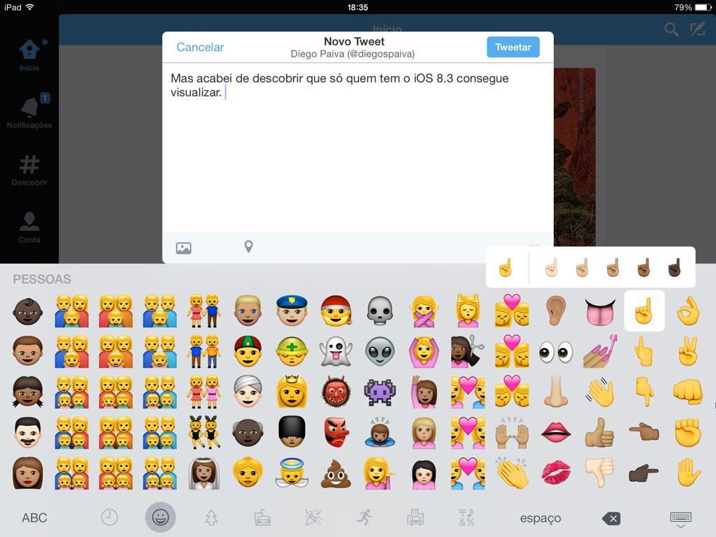 Mas acabei de descobrir que só quem tem o iOS 8.3 consegue visualizar. Então, segue print da tela! #emojiupdate http://t.co/IG8m0HmVj6