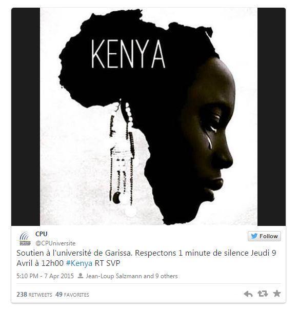 Les étudiants français mobilisés après l'attaque du campus de Garissa au Kenya http://t.co/0k5fJBlctV