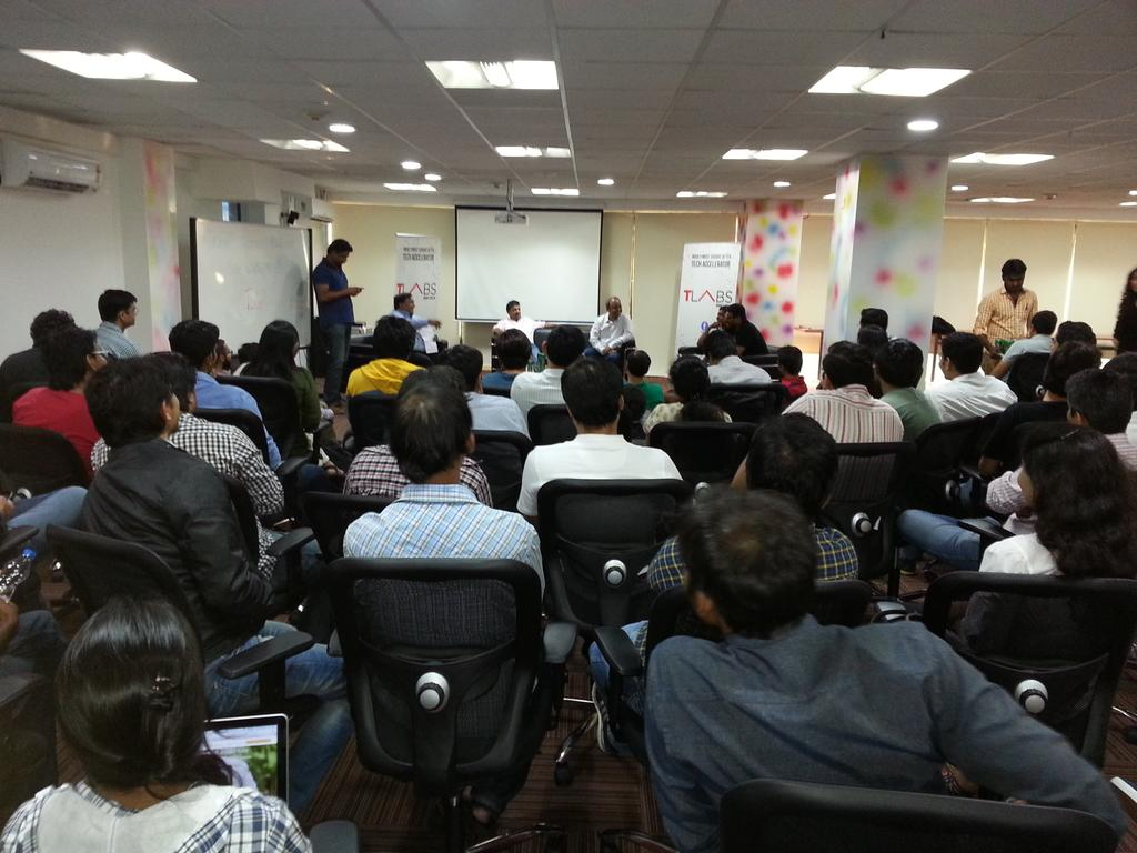 Packed house at @TLabs for inauguration, an evening full of fun and quirkiness in store! @ravigururaj leading d panel http://t.co/YChIwFPMOL