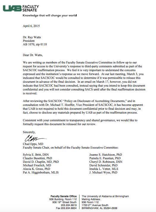 The UAB Faculty Senate sent Watts a letter