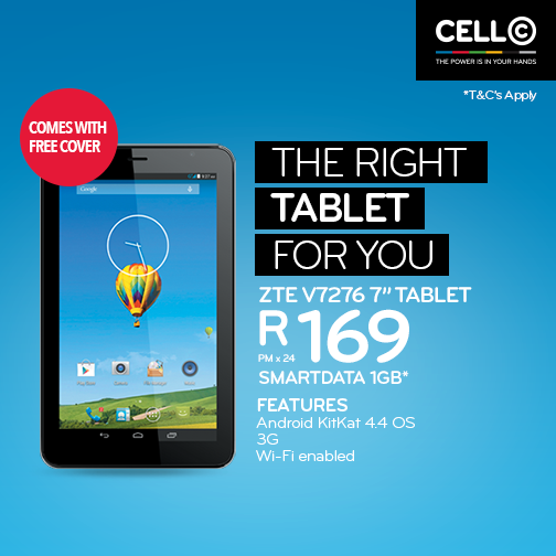 Cellc A Twitter Whatever Your Gig Cell C Has A Tablet For You Get The Zte V7276 For R169 Pmx24 Smartdata A Gig That Works For You Http T Co Sbl1mejo4b