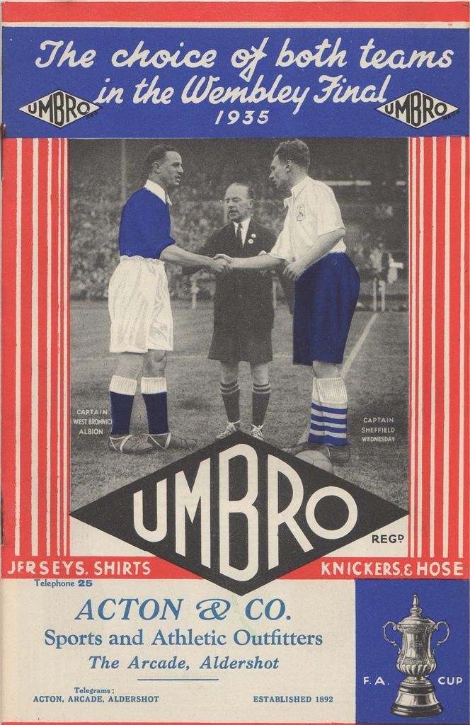 #ViernesTematicoLacasaca #CasacasyPublicidades Umbro en 1935 jactándose de vestir ambos finalistas de la Copa Inglesa http://t.co/o1iDURxY3s