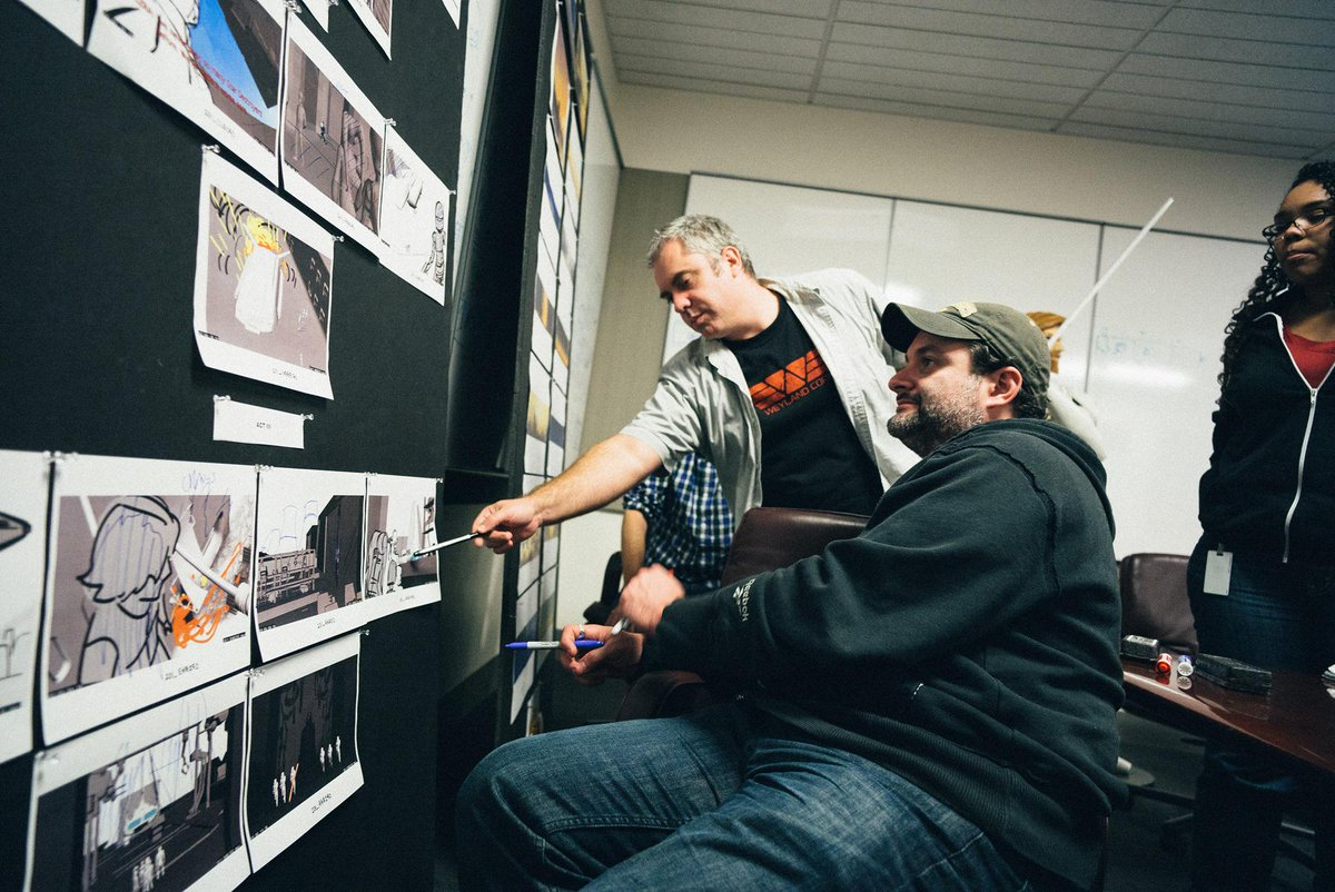 Behind-the-scenes & in front of the storyboards w/ Dave Filoni & Kilian Plunkett. #StarWarsRebels Photo by @joelaron. http://t.co/4mkNCy5pPL