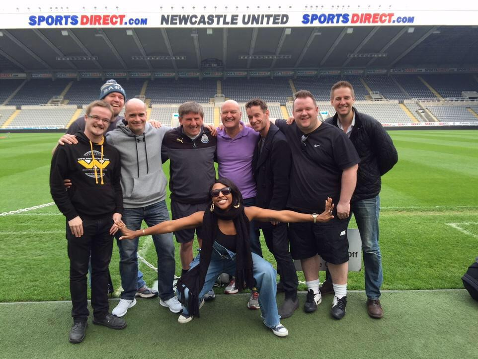 Fantastic morning watching the crew play footie with @PeterBeardsley1 ! And we got to see the grounds! http://t.co/9PmpKLgDIB