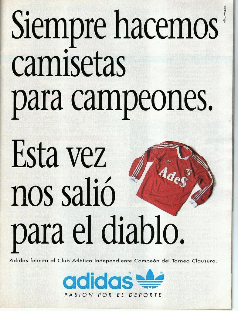 @LaCasacaBlog  #ViernesTematicoLacasaca #CasacasyPublicidades adidas felicita a #Independiente http://t.co/TRn1s5oyzs