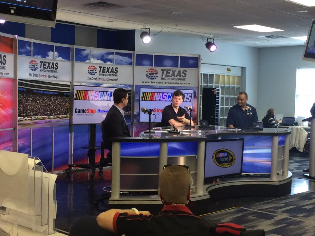 .@erik_jones kicking off race day in the media center to announce #NASCAR15 exclusive at @GameStop! #LetsGoPlaces http://t.co/zAeHhLVE4u