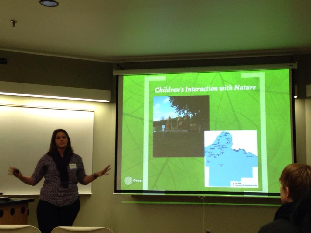 MaryBeth Factor, Env Ed student presents research on social impacts of Parks&Rec accessibility #sustumn @RCPumn http://t.co/aS67gftina