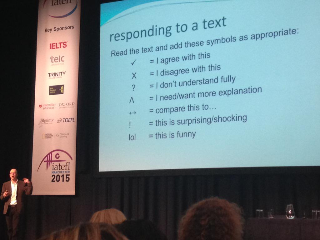 Symbols for Ss to use while reading texts #IATEFL2015 http://t.co/JeB2kPnuTH