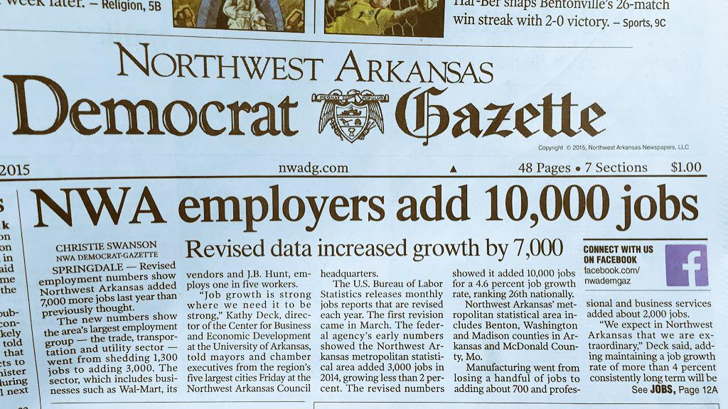 Northwest Arkansas jobs grew by 4.6% in 2014, ranked 26th nationally. #arkansas http://t.co/DmJvQDxkjm http://t.co/RyfpzVDSw1