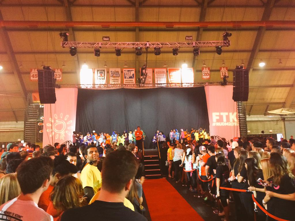 WE HAVE OFFICIALLY STOOD UP! HERE GOES NOTHIN .. AKA 30 HOURS ON OUR FEET! #RUDM2015 #openingceremonies #FTK #hour1 http://t.co/N9KYUZJk4v