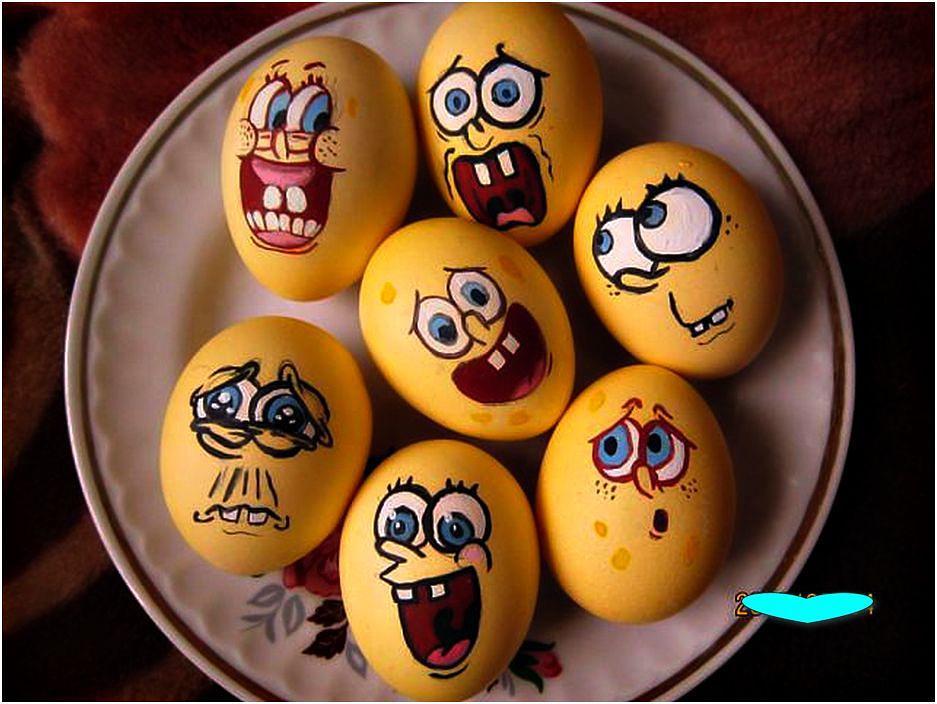 Веселые рисунки на яйцах, именинником