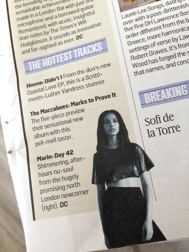 I'm in @thesundaytimes today! Day 42 is highlighted in the essential releases feature