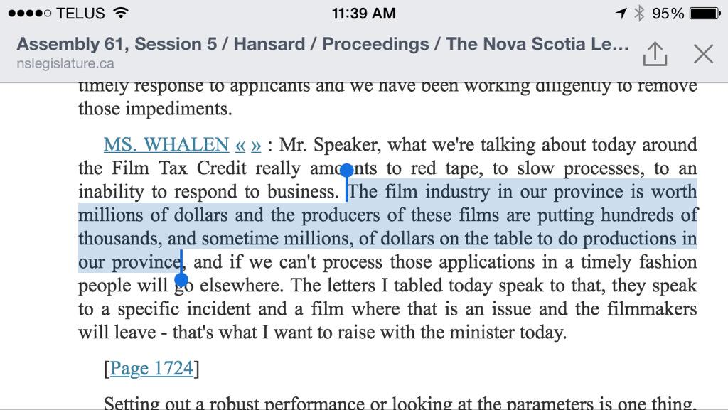 Here is what the other face of @dianawhalenNS said about the film industry. #NSfilmjobs http://t.co/36A3OwJVXt