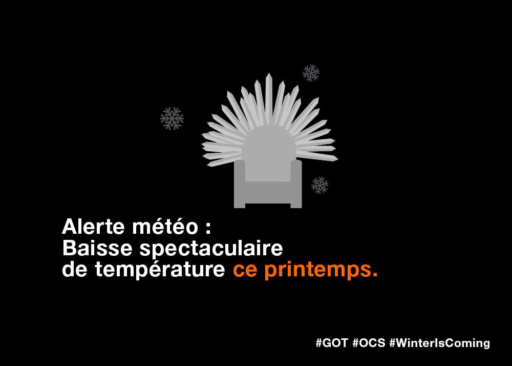 #Ofait, #GoT S5 c'est lundi dès 3h00 du matin sur @OCSTV en simultané avec les US ! #WinterIsComing