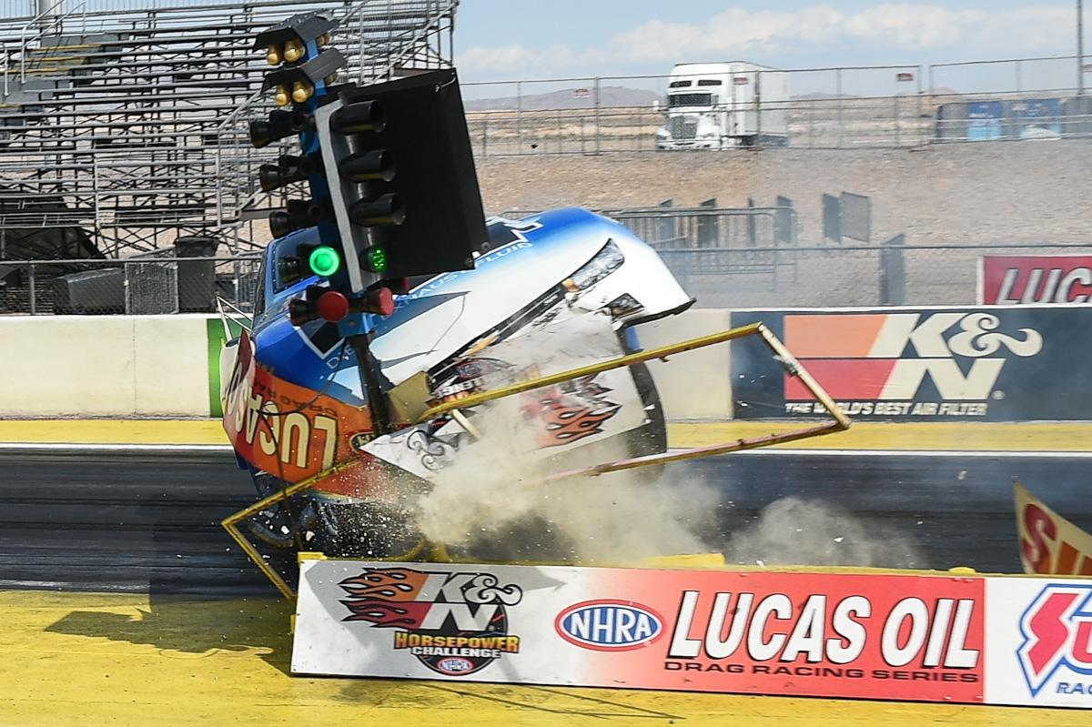 jay payne in crazy crash lvmsstrip where he hit the christmas tree during nhra div 7 event bob johnson photospictwittercomjymemgcdez