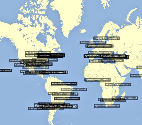 En más de 30 países fue TT #GameOfThronesSeason5 durante su estreno, todo un éxito http://t.co/yp2TYLJ9RF