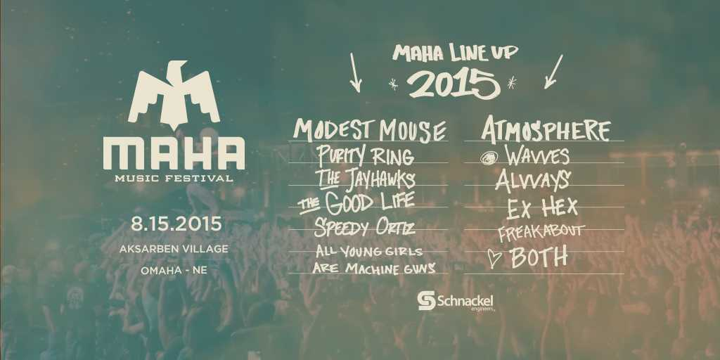 Please welcome @modestmouseband, @atmosphere, @Purity_Ring, @wavves, @the_jayhawks, and @alvvaysband to #Maha2015! http://t.co/vA2HnxXQHo