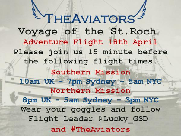 *FLIGHT ALERT* #TheAviators Maritime Adventure Southern led by @lucky_GSD - 45MIN MeetUp - 1HR WheelsUP http://t.co/JClCKgFeAn