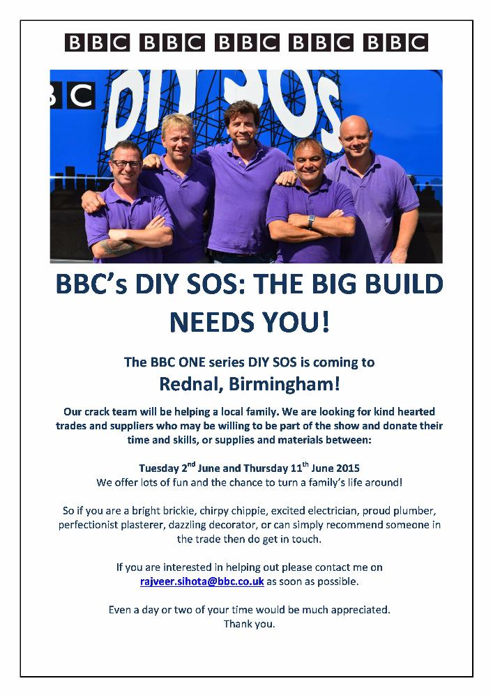 RT @DIYSOS: Trades people of BIRMINGHAM we need you! Please email rajveer.sihota@bbc.co.uk if you can lend @DIYSOS a hand in June http://t.…