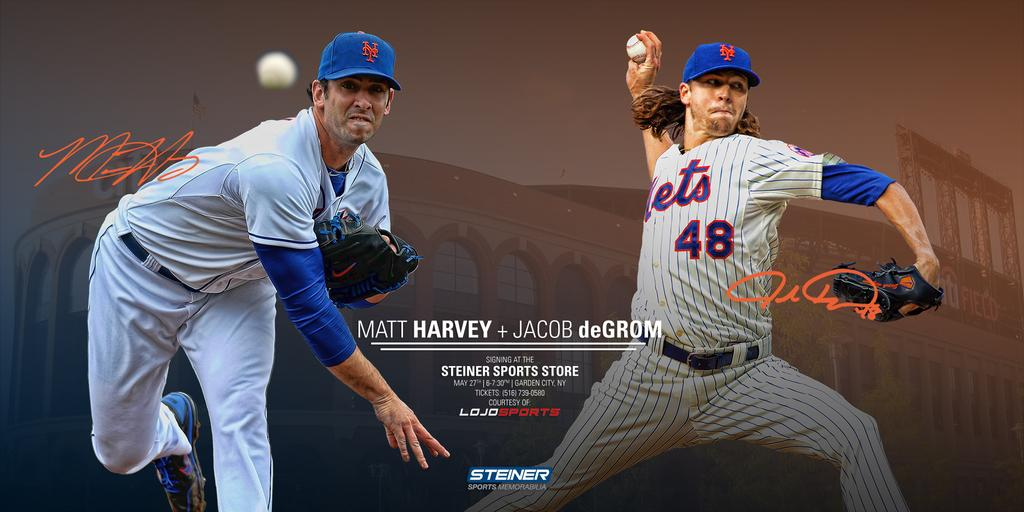 FOLLOW @steinersports + RT to enter to WIN a ticket to meet @MattHarvey33 & @JdeGrom19 on 5/27 at @SteinerStoreNY! http://t.co/SF2zT8IYPl