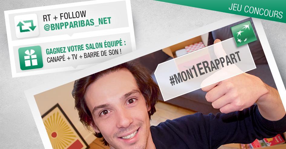 Un nouvel appart ? Remportez 1 canapé +1 TV +1 barre de son ! RT&Follow @BNPPARIBAS_NET pour participer #Mon1erappart http://t.co/XnFla2r9Of