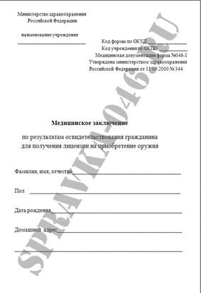 Справка на оружие 046 1 на ленинскомъ