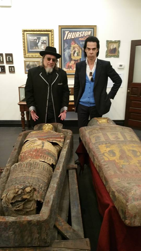 Larry Ratso Sloman & Nick Cave contemplating their mummies at last Saturday's Do The Spirits Return opening party! http://t.co/0zB0ghYcux