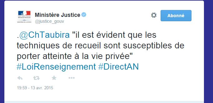 HAHA bis. Mal joué @justice_gouv qui a effacé le seul tweet qui citait @ChTaubira, mais quel tweet! #PJLRenseignement http://t.co/bOUNkolv9a