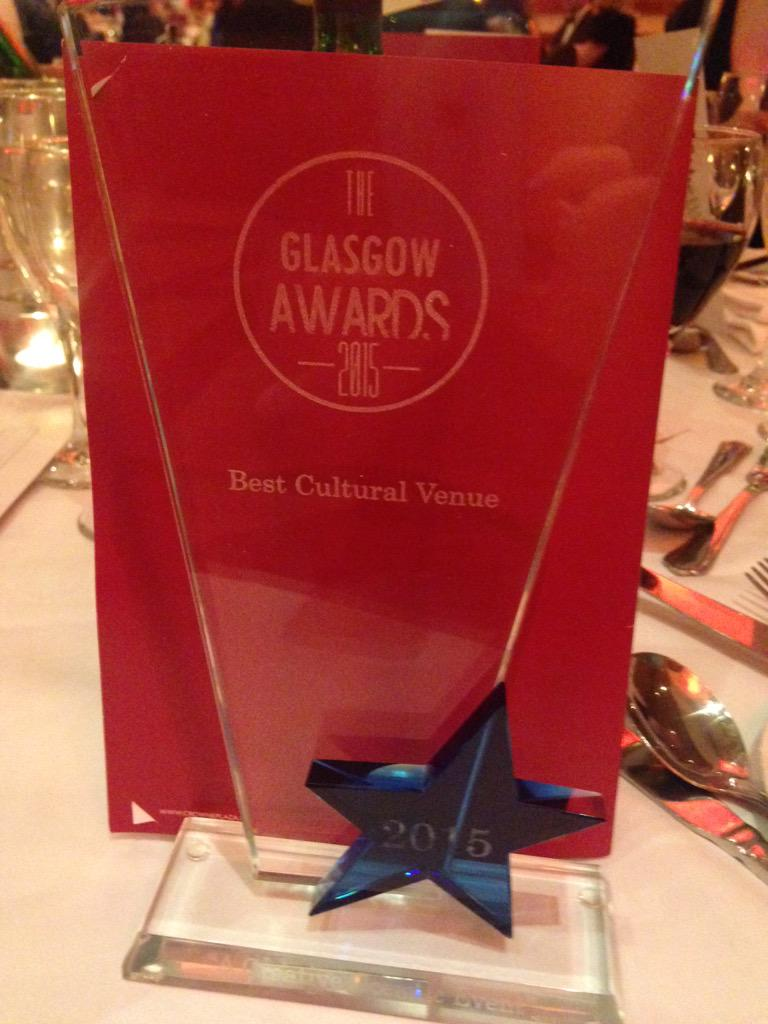 Best Cultural Venue at tonight's #TheGlasgowAwards - thanks everyone for the nominations!! http://t.co/JLPsIVKm8I