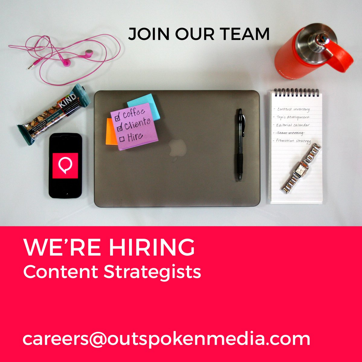 Join the @OutspokenMedia content strategy team! Not pictured--chocolate. Lots of it. Email careers@outspokenmedia.com http://t.co/HadYyzALuo