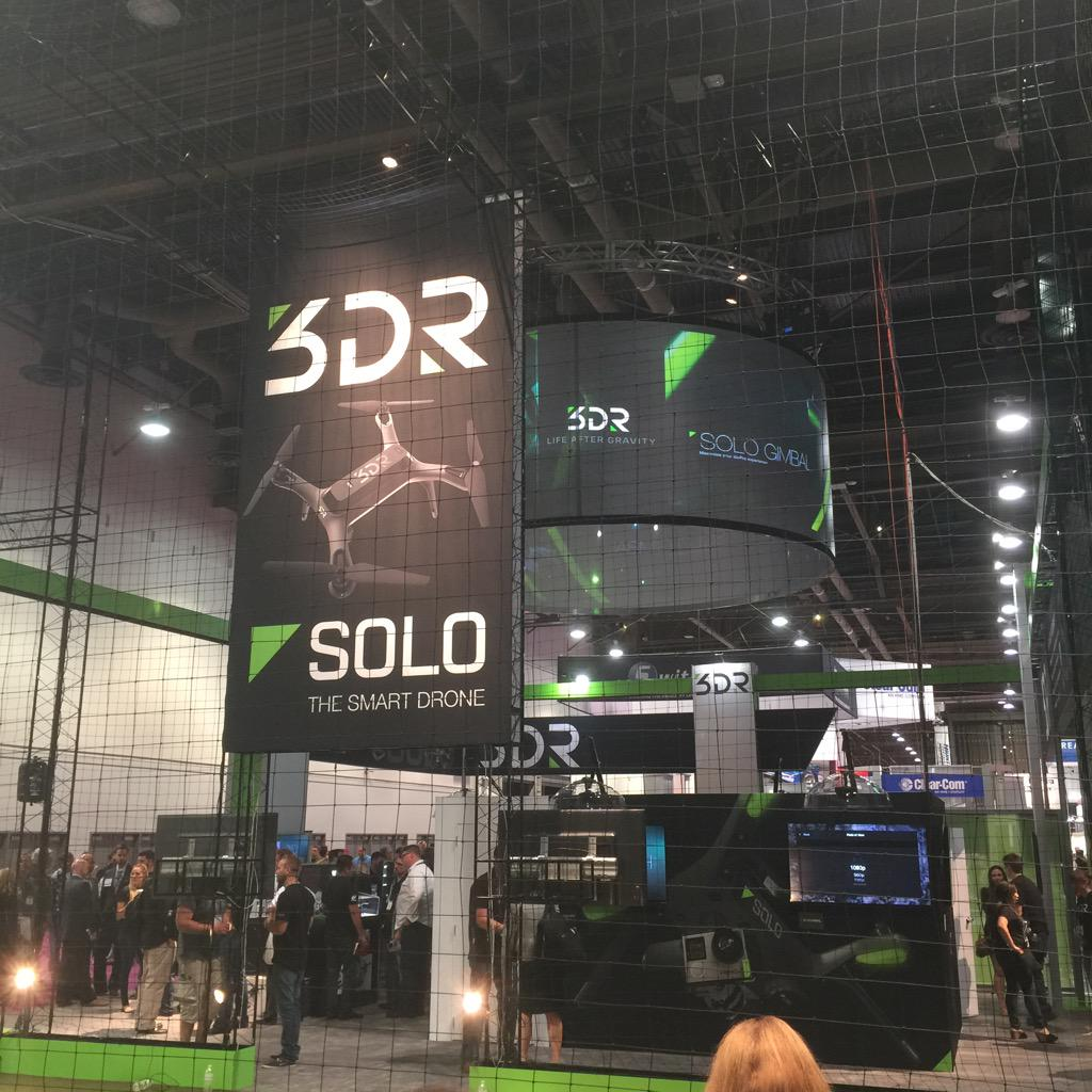 Remember when @chr1sa quit Wired mag to run his drone company? This is their booth at NAB. New drone is mind-blowing! http://t.co/Mk07FxyHZB