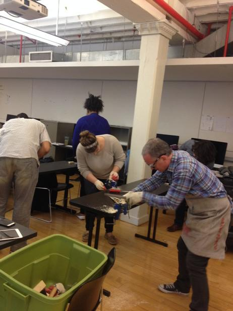 Learning the difference between a rasp and a file. #makerspacing @PrattSILS @thenewspace #lis680 http://t.co/kUi7NM2RfT