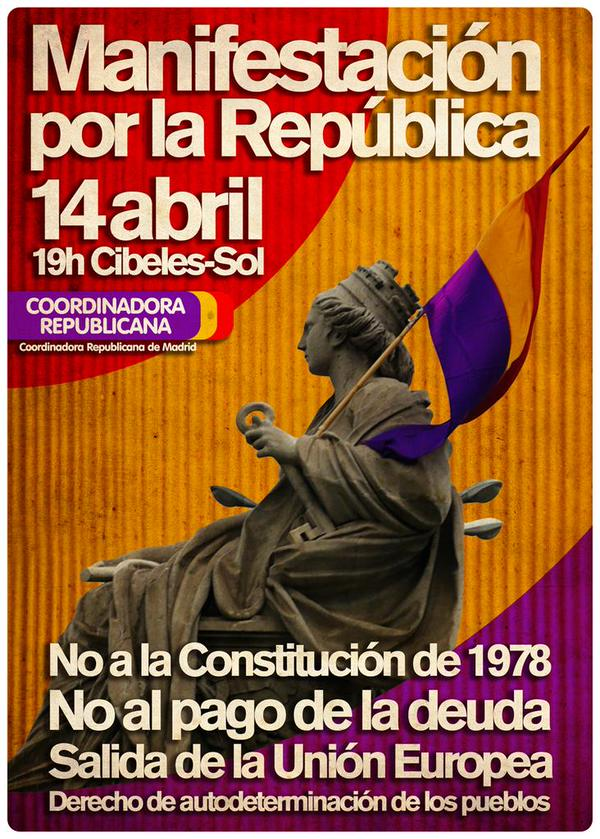 Manifestación en Madrid #14AVivaLaIIIRepublica http://t.co/eiUZAqr004